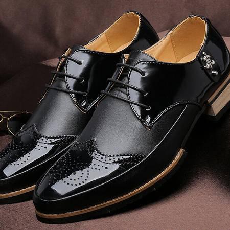 休闲男鞋夏透气男式时尚品牌单鞋前系带尖头鞋