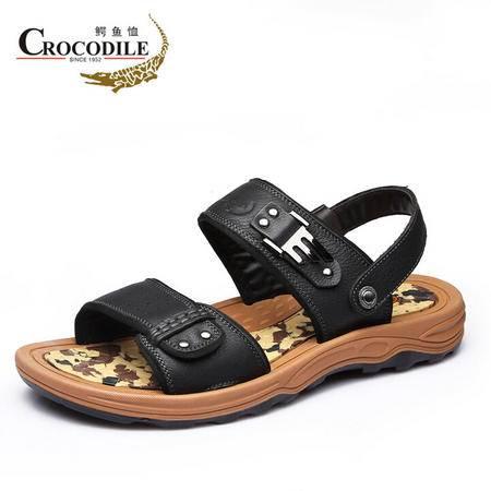鳄鱼恤2015夏季新款青年时尚沙滩鞋露趾凉鞋真皮头层牛皮透气凉鞋