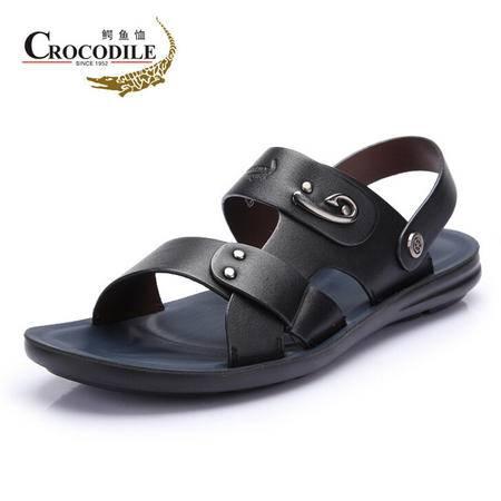 鳄鱼恤2015夏季新款沙滩鞋韩版潮品牌正品男鞋休闲凉鞋男真牛皮