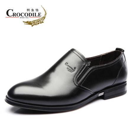 鳄鱼恤2015春季新品商务正装皮鞋 真皮男鞋套脚低帮单鞋英伦正品