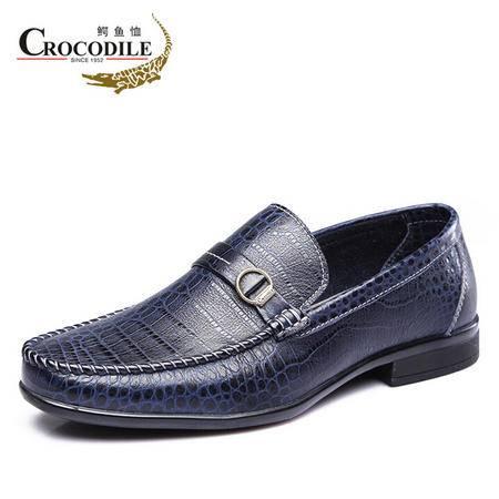 鳄鱼恤2015春季新品商务正装皮鞋 真皮套脚办公室男鞋 圆头英伦