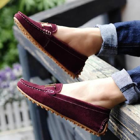 古奇天伦时尚女鞋2015春款浅口低跟平底耐磨韩版休闲低帮豆豆鞋