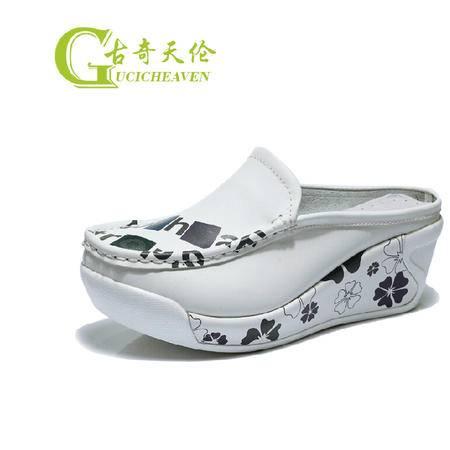古奇天伦坡跟女拖鞋厚底松糕透气女鞋懒人半拖白色凉拖鞋