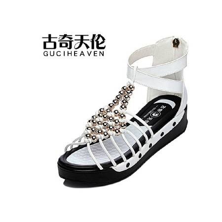 古奇天伦 夏季新品露趾平底单凉鞋平跟串珠时尚厚底防水台女鞋