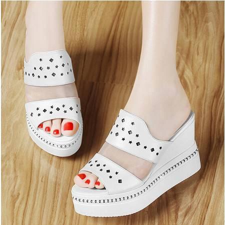 古奇天伦高跟拖鞋女夏坡跟厚底松糕 新品平底凉拖时尚欧美女鞋