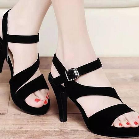 古奇天伦 夏季新品时尚细跟防水台女鞋韩版新款高跟鞋鱼嘴凉鞋