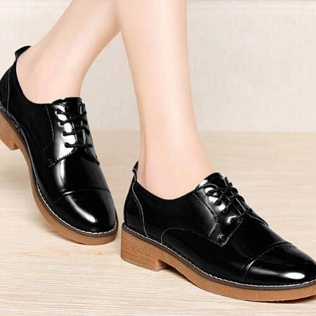 2015新款厚底中跟单鞋漆皮系带学生正装女鞋布洛克马丁皮鞋女夏季
