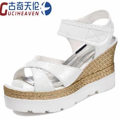 古奇天伦女鞋夏季2015新品平底坡跟凉鞋松糕厚底防水台高跟鞋露趾