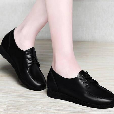 春夏季新款鞋子韩版潮平跟单鞋系带平底休闲女鞋软底浅口皮鞋