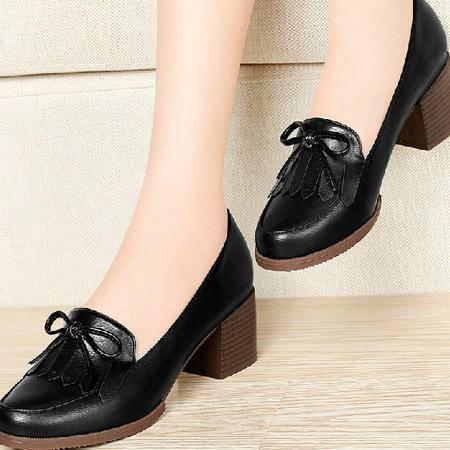 春夏季厚底粗跟职业女鞋一脚蹬鞋子浅口高跟皮鞋女甜美系单鞋