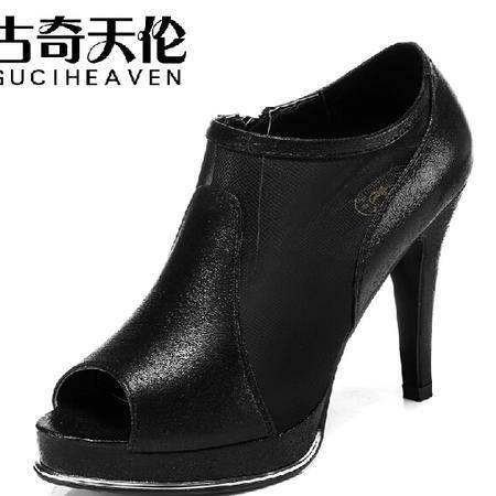 古奇天伦新款鱼嘴网纱女鞋性感细跟高跟鞋凉鞋镂空低帮女鞋子