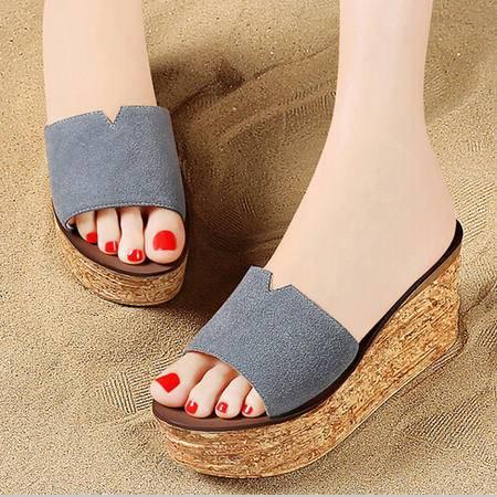 夏季新款时尚一字拖休闲厚底松糕鱼嘴鞋平底鞋凉拖鞋