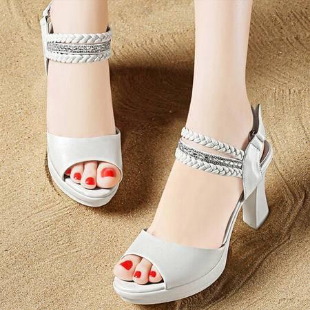 2015夏季新款甜美水钻时尚粗跟鱼嘴一字扣防水台鞋