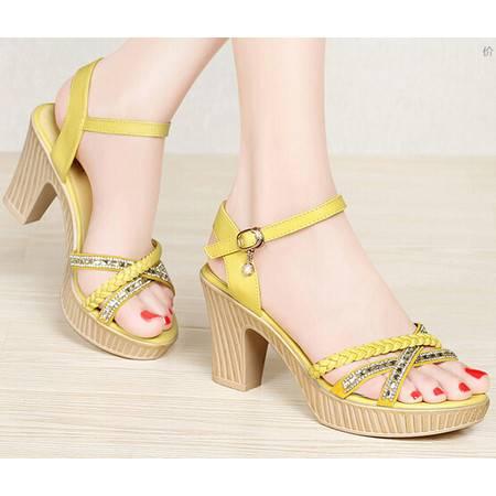 新品夏季粗跟防水台水钻时尚女鞋露趾高跟凉鞋女夏天