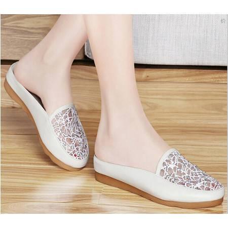 2015春夏季新品中跟网纱包头凉拖鞋坡跟厚底水钻时尚女鞋