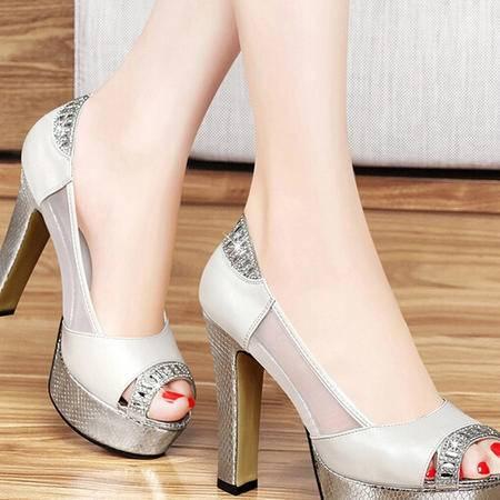 春款欧美超高跟新款防水台女鞋百年纪念女夏凉鞋鱼嘴鞋