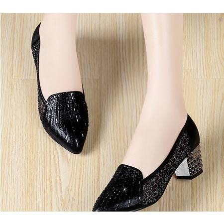 新款春季甜美时尚网纱女鞋/浅口高跟鞋/尖头单鞋女鞋