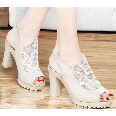 春夏季新款高跟性感鱼嘴凉鞋防水台粗跟韩版镂空女鞋