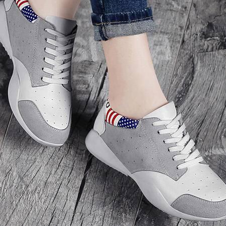 新款平底中跟单鞋女运动鞋厚底休闲鞋韩版女鞋春款