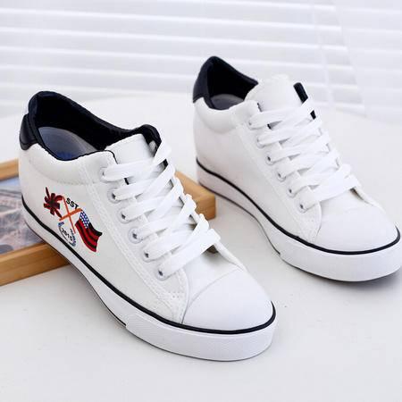 新款女韩版潮帆布鞋平底内增高女鞋休闲学生系带低帮运动鞋