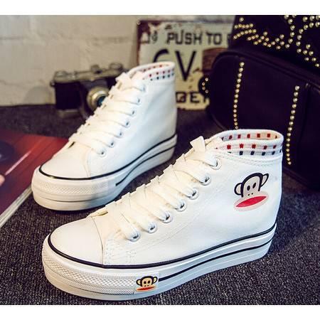 新款韩版帆布鞋高帮经典厚底内增高女鞋学生运动鞋女式布鞋