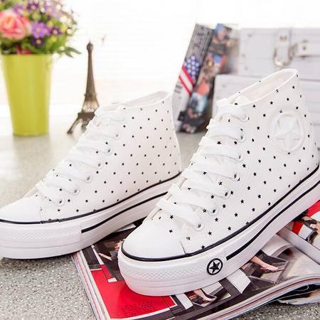 2015新款韩版帆布鞋高帮五星内增高女鞋休闲学生运动鞋女式布鞋