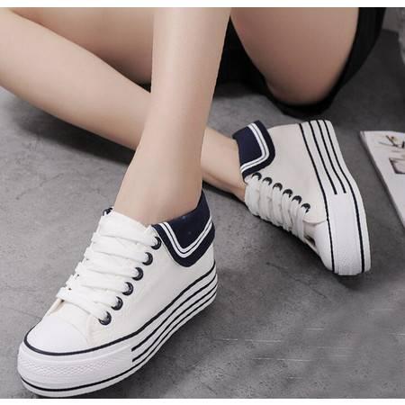 新款韩版帆布鞋女内增高低帮系带海军风女式布鞋学生休闲鞋