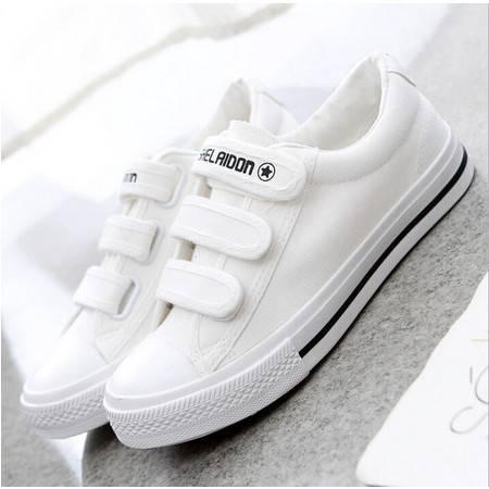 春季新款低帮魔术贴女鞋平底学生帆布鞋女士韩版懒人运动布鞋