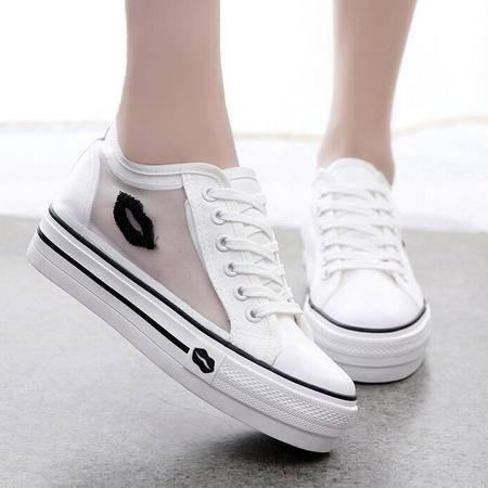 春夏韩版潮女帆布鞋内增高低帮系带网纱女士布鞋学生休闲鞋