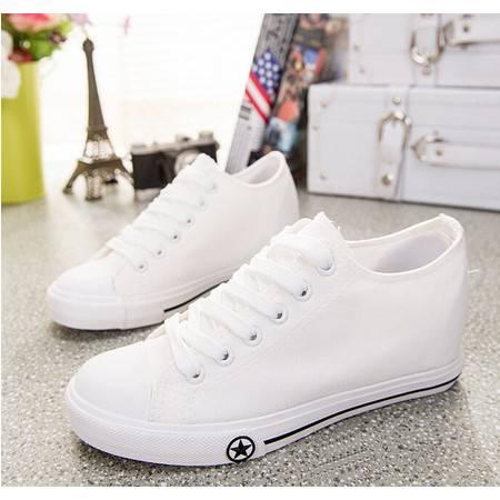 新款韩版内增高女帆布鞋女生布鞋系带女平底休闲学生运动鞋