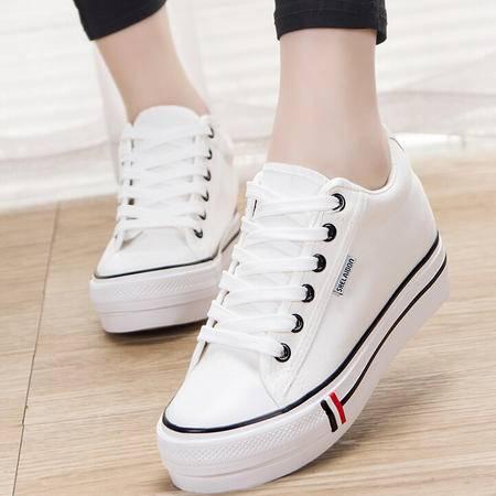新款韩版帆布鞋低帮经典内增高女鞋休闲学生运动鞋女式布鞋