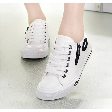 新款韩版帆布鞋女低帮系带红唇侧拉链学生平底休闲运动鞋子