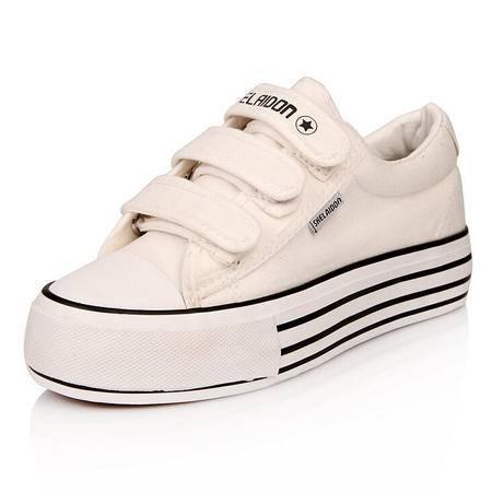 2015新款低帮魔术贴厚底松糕帆布鞋女韩版懒人鞋女式休闲学生布鞋