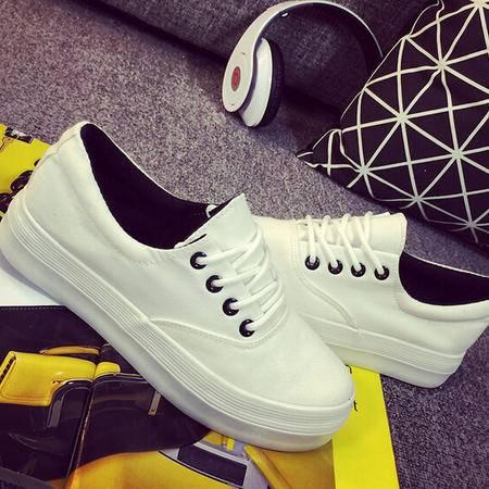 女夏帆布鞋学生厚底松糕小白鞋低帮白色休闲韩版潮系带板鞋