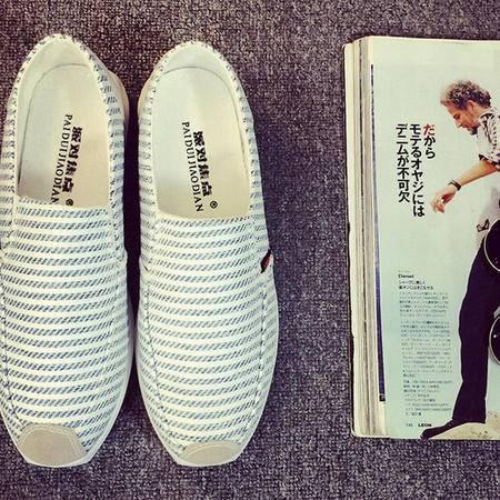 2015韩版帆布鞋男夏季条纹一脚蹬懒人鞋学生板鞋男士休闲乐福鞋