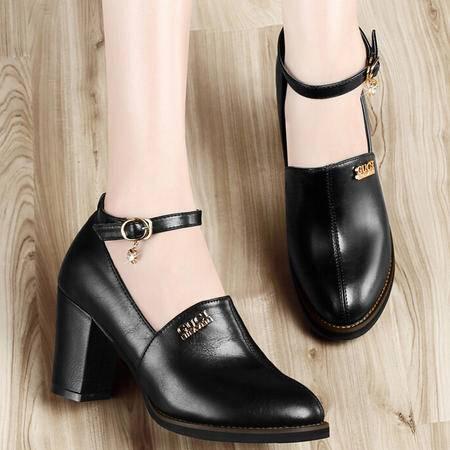 古奇天伦2015秋季新品时尚女鞋一字扣英伦浅口女单鞋粗跟休闲鞋子