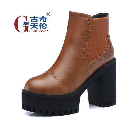 古奇天伦马丁靴女短靴 秋季新品厚底粗跟高跟踝靴欧美复古女靴