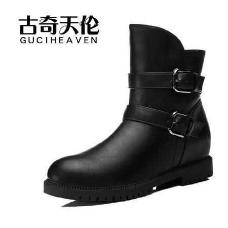 古奇天伦 冬季新款潮圆头内增高女鞋中跟舒适女靴马丁靴子