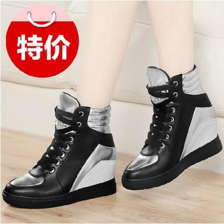 古奇天伦秋季新品单鞋高帮鞋内增高女鞋网纱运动风休闲鞋板鞋