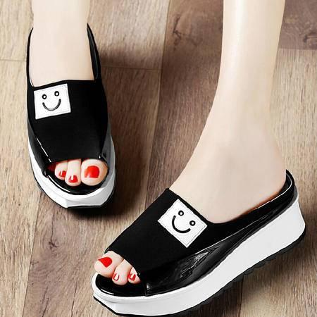 古奇天伦拖鞋女2015韩版鱼嘴坡跟松糕时尚夏季厚底一字型女凉拖鞋