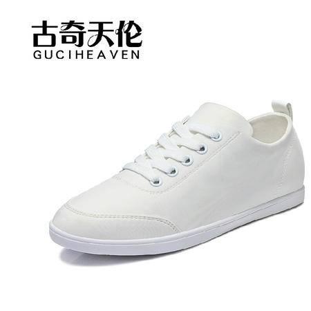 古奇天伦秋季新款平跟平底女鞋韩版休闲单鞋小白鞋女学生帆布鞋