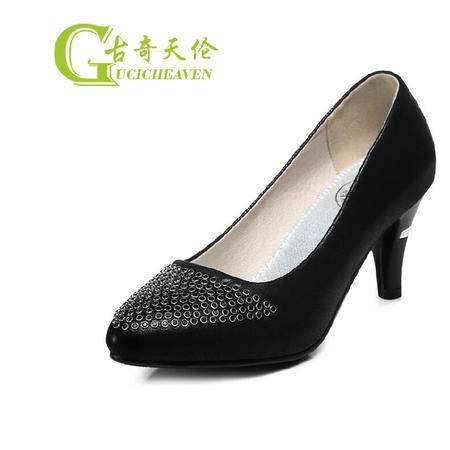 古奇天伦浅口单鞋女鞋OL通勤黑色细跟高跟鞋秋季新品女士秋鞋细跟
