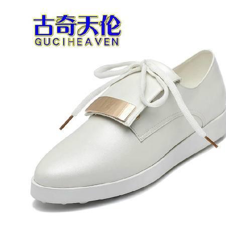古奇天伦夏季女鞋浅口单鞋休闲鞋2015新品平底鞋松糕鞋时尚豆豆鞋