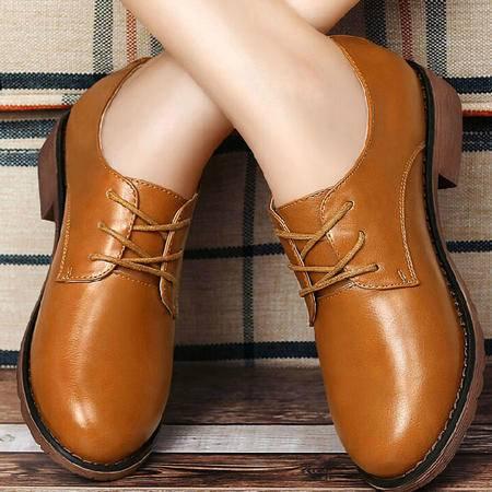 古奇天伦女鞋2015新品秋季单鞋女低跟系带粗跟英伦复古低帮罗马鞋