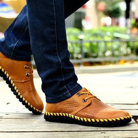古奇天伦2015新款头层牛皮男鞋休闲鞋低帮鞋子平板鞋