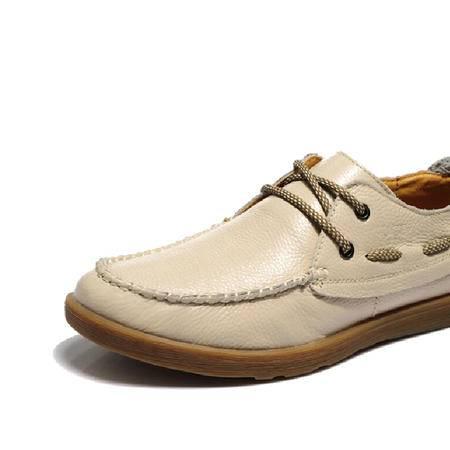 古奇天伦2015英伦男鞋真皮休闲皮鞋低帮帆船鞋子米色板鞋
