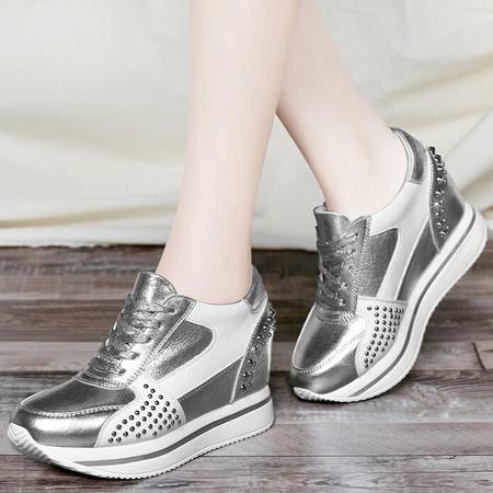 古奇天伦2015运动风休闲鞋女生厚底松糕底单鞋内增高女鞋
