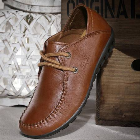 古奇天伦英伦真皮女鞋子 秋季新款潮平底鞋系带浅口复古单鞋
