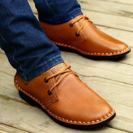 古奇天伦2015新款真皮皮鞋日常休闲男鞋子低帮鞋