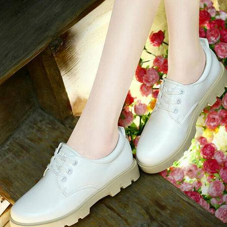 古奇天伦秋季女鞋 新品圆头系带女单鞋平底时尚平跟学生休闲鞋